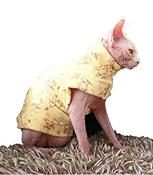 Khemn LUXURY丨HANDMADE丨Yellow Bear Cat Warm Clothes Cat Sweater with Thick Fleece-Best for Hairless Cat S