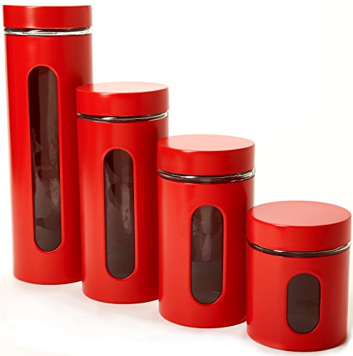 Set Canister Window (Anchor Hocking 4 Piece Palladian Cherry Red Window Cylinder Canister Set)
