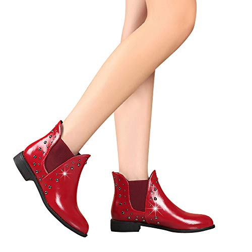 Warm Casual Keep Women For Ankle Rivets Flat Boots Leather Boots Martin Boot Shoes Clearance Sale Red Boots Farjing q8zXwx1Wzn