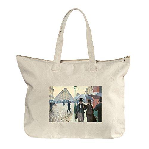 Paris Street On Rainy Day (Caillebotte) Canvas Beach Zipper Tote Bag - Center Street Market Shopping