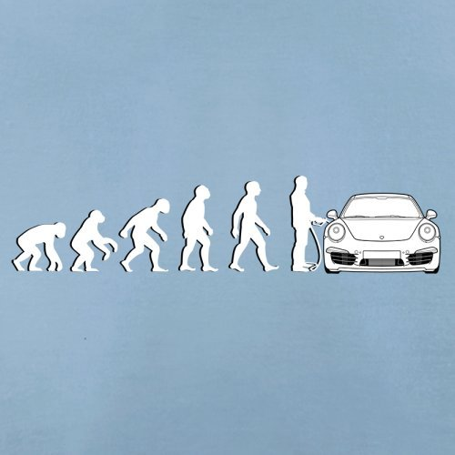 Evolution of Man - 911 Fahrer - Herren T-Shirt - Himmelblau - XXL