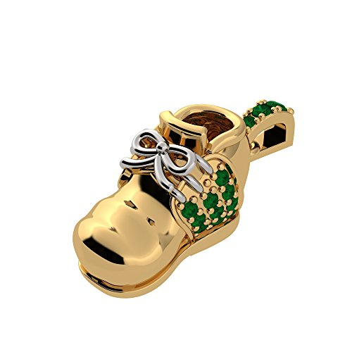 NANA Sterling Silver Birthstones Baby Shoe made with Swarovski Zirconia Charm-Pendant-necklace -Yellow Gold Plated-May