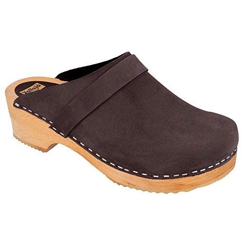 - Vollsjö women's genuine leather wooden clogs Made in EU, Dark Brown,8
