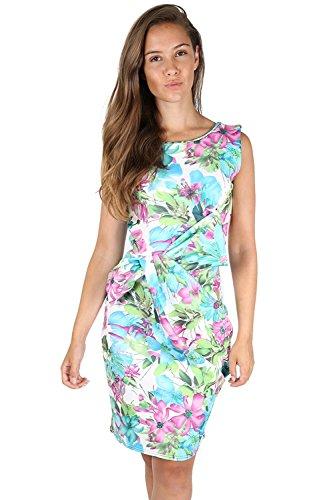 Be Jealous - Femmes - Robe sans manches plissée grand nœud motif floral soirée grande taille - Grande taille (EU 48/50), Violet turquoise hibiscus