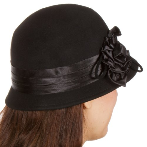 EH1121LC - Womens Vintage Style 100% Wool Cloche Bucket Winter Hat with Satin Flower Accent ( 6 Colors ) - Black/One Size