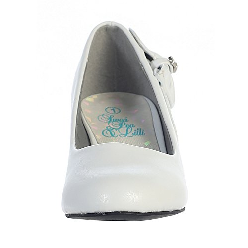 Lito Girls White Bow Gina Special Occasion Dress Wedge Shoes 11-4 Kids