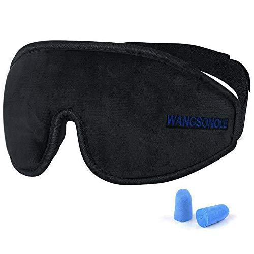 3D Soft Sleep Eye Mask Cover for Sleeping, Comfortable & Light Blocking Eye shade Memory Foam Sleeping Mask Blindfold with Ear Plugs for Men Women Insomnia Aid and Travel, Black