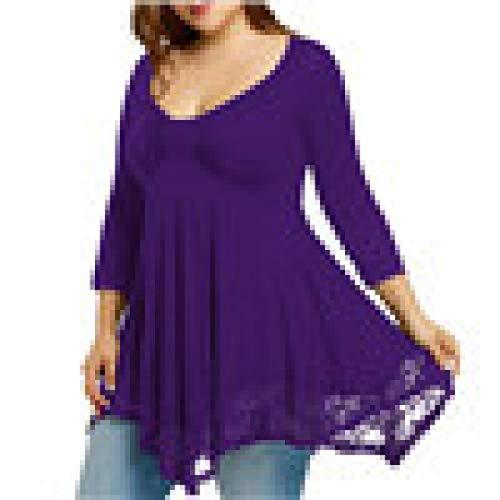 Couleur Sweatshirt Femme Chemise Longue Violet Grande Fantaisiez Dentelle Longues Dcontracte pour Manches Taille Chemisier de de Pure 7B7WA4qrF
