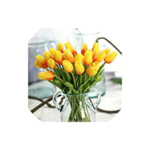 Artificial Tulips Plastic Real Touch Tulips 10Pcs/Lot for Decoration Wedding Mini Tulips Bouquet Party,Orange 48
