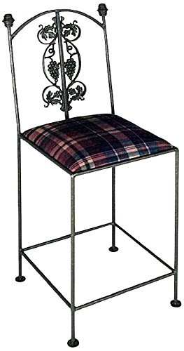 Grace Collection Iron Bar Stools (Grace Collection Vineyard Counter Stool in Aged Iron Finish, Leopard Chenille)