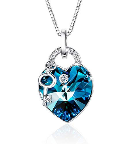 Sllaiss Ocean Heart Pendant Necklace for Women♥Open Your Heart with The Key♥Key Necklace Made with Swarovski Crystals, Anniversary Jewelry -