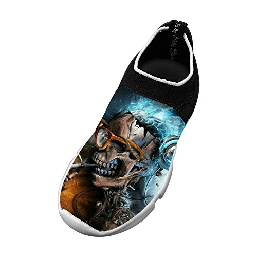 MREIO Skull Children's 3D Print Fly Knit Shoes Leisure Loafers Sneakers Gym Shoes For Girls 1 B(M) US Big kid