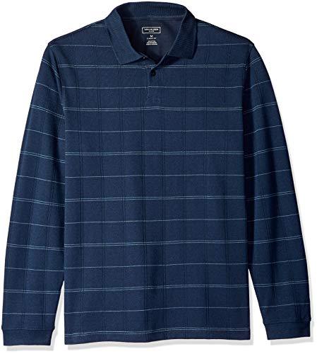 Van Heusen Men's Flex Long Sleeve Jaspe Windowpane Polo Shirt, Sea Navy Plaid, Medium ()