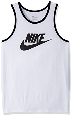 Nike Men's Ace Logo Tank Top, White Black, XX-Large