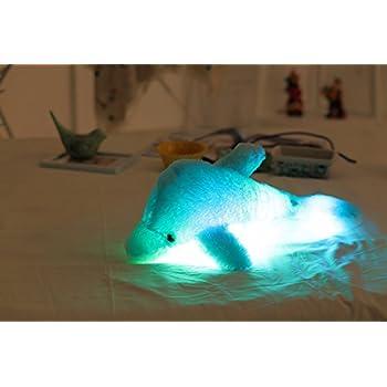Amazon.com: EryRon Cute Shiny Light Up Dolphin Plush Pillows ...