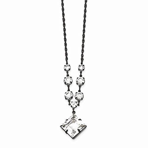 (Jewelry Necklaces Fancy Necklaces Black-plated White Swarovski Elements Fancy with 3in ext. Necklace)