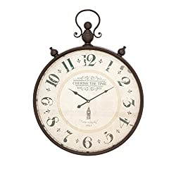 Deco 79 92259 Rustic Cherish the Time Round Analog Metal Wall Clock, 31 x 23