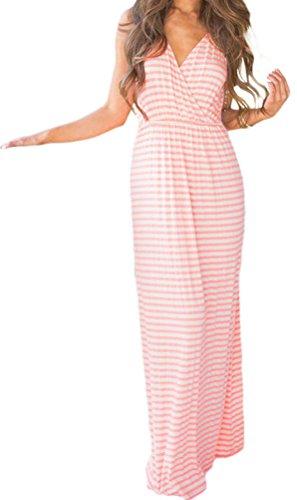 Molded Lap Tray (YeeATZ Women's Summer Pink White Stripes Print Lace Back Maxi Boho Dress)