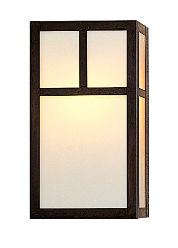 Arroyo Craftsman Sconce - Arroyo Craftsman mission sconce without overlay Verdigris Patina Metal Finish, White Opalescent Glass, 12