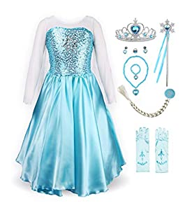 ReliBeauty Little Girl's Princess Fancy Dress Costume with Accessories, 6, Sky Blue