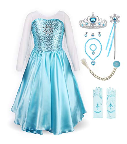 ReliBeauty Little Girls Princess Fancy Dress Elsa Costume with Accessories, 6X, Sky -