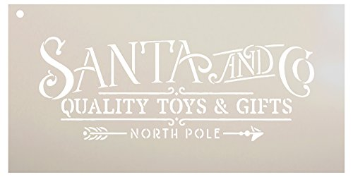 Santa and Co Word Stencil by StudioR12 | Reusable Mylar Template | Paint Wood Sign | North Pole Toys Ampersand Gifts Arrow | Craft Christmas Home Decor | Rustic DIY Holiday Farmhouse | Select Size (Lettering Stencils Christmas)