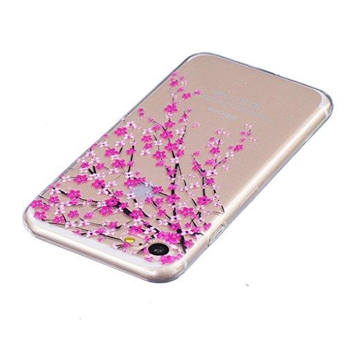 ZXLZKQ Coque pour iPhone 7 (2016) EtuiUltra-mince Transparent Rose Plum Fleur Doux TPU Silicone Case Housse Coque pour iPhone 7 (2016) (non applicable iPhone 7 Plus 2016)