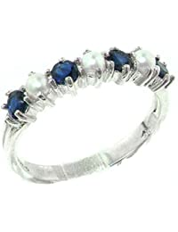 14k white gold cultured pearl sapphire womans eternity ring sizes 4 to 12 available - Pearl Wedding Rings