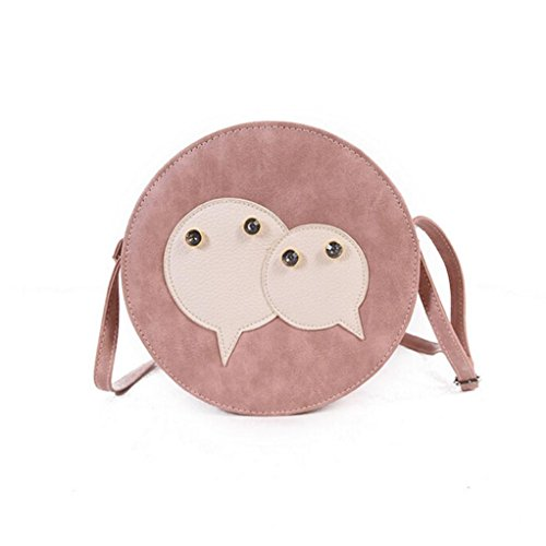 LHWY Moda Mujer Bolso de Cuero Cruzada Cuerpo Circular de Hombro Messenger Bolso de la Moneda rosa