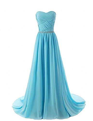 Jugendweihe Blau Langes Kleider Abendkleider Blau Ballkleider Linie mia La Damen Braut Hell Chiffon A Partykleider Cqznw6X