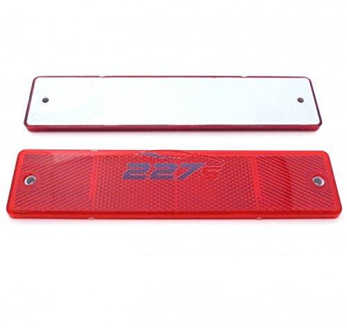 2x Red Large Rectangular Reflectors, Screw Mounts, 173mm x 40mm, Trailer, gates 227s