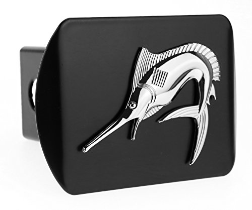 LFPartS Marlin Swordfish Fishing fish 3d Chrome Emblem on Black Trailer Metal Hitch Cover Fits 2