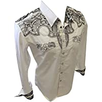 Men's House of Lords Designer Long Sleeve Button Down Snap Up Shirt White Two Pocket Black Stitching 1174