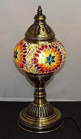 kenta artesanias lampara Turca sobre mesa calidad y diseño 32 cm x 13 cm de diametro - cristales y metal, eléctrica