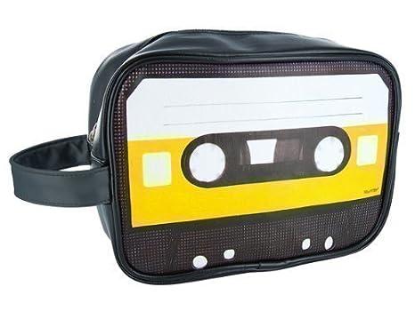 Bolsa de Aseo Neceser de Viaje Rstilo Retro. Negro con Cinta Cassette: Amazon.es: Equipaje