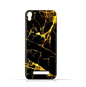 AMC Design Lava Iris 702 TPU Silicone Case With Dark And Gold Mesh Marble Pattern - Multi Color