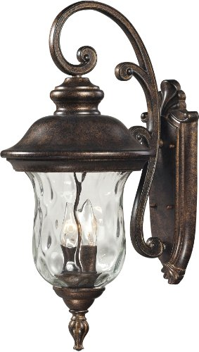 Elk 45021/2 10 by 22-Inch Lafayette 2-Light Outdoor Wall Sconce with Blown Water Glass Body, Regal Bronze Finish