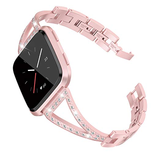 TOYOUTHS Bling Bracelet Compatible with Fitbit Versa Bands for Women Nickel-Free Stainless Steel Wristbands Replacement for Versa Lite Special Edition Accessories Metal Bangle Strap Rose Gold