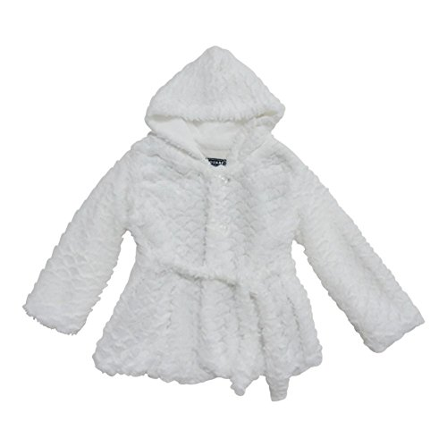 Big Girls Off-White Scale Faux Fur Belted Hooded Faux Fur Jacket 10