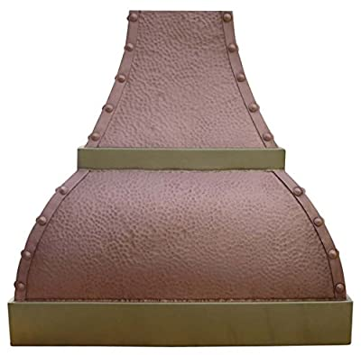 Hammered Copper Vent Hood with Decorative Brass Trims Comes with Stainless Steel Range Hood Liner and Internal High CFM Motor Fan Sinda H1BTRPE
