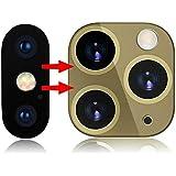 ために iPhone X/XS/XS MAX秒に適用可能11秒に変更されるPro MAXカメラレンズカバー、ステッカーアップグレードメタルステッカーカメラレンズ強化ガラススクリーンプロテクター (ゴールド)