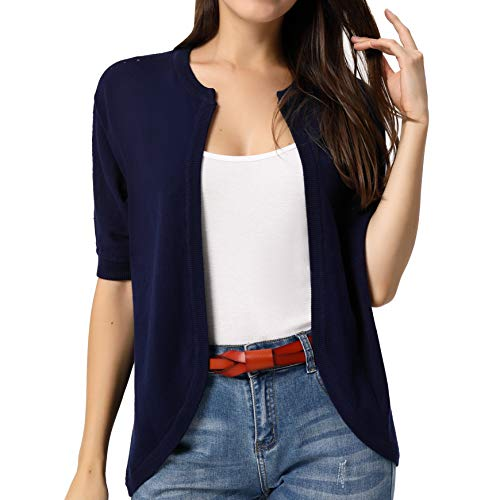 Women Casual Lightweight Short Sleeve Cardigans Open Front Sweaters Navy Blue L