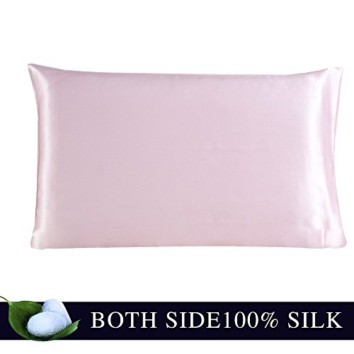 600 Pillow (JULY SHEEP-Queen size Pure Silk Pillowcase,Natural 100% Mulberry Silk,19 momme, 600 thread count for Hair&Facial beauty with Hidden Zipper-Pink Queen(20 x 30 inches))