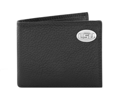 NCAA Lsu Tigers Black Pebble Grain Leather Bifold Concho Wallet, One (Lsu Black Leather)