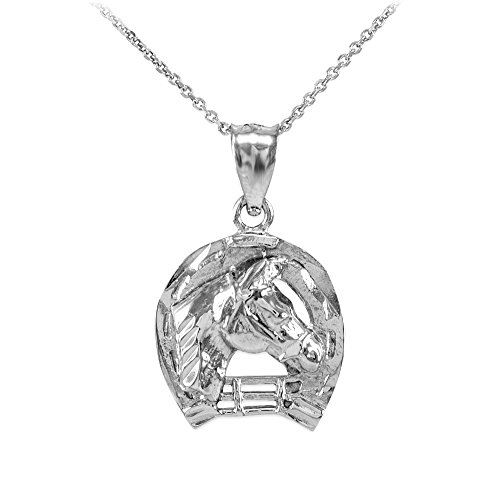 Horseshoe Head Horse - Textured 925 Sterling Silver Good Luck Horseshoe Charm Horse Head Pendant Necklace, 16
