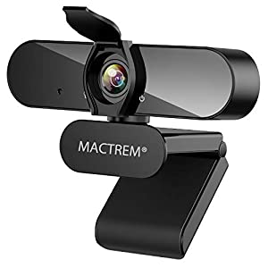 MACTREM 1080P Webcam with Microphone HD USB Webcam for Video Conference Camera with Privacy Cover