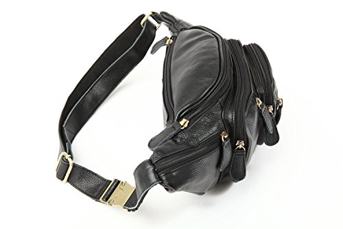 Polare Men's Natural Leather Fanny Pack Waist Bag Black Large by Polare (Image #2)