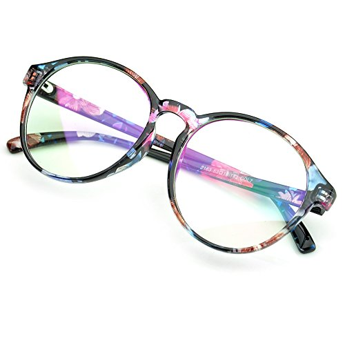 PenSee Oversized Circle Eyeglasses Frame Inspired Horned Rim Clear Lens Glasses (Blue - Flower Glasses Frames