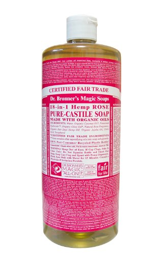 Dr. Bronner's - Pure-Castile Liquid Soap (Rose, 32 ounce, 2-Pack) - Made with Organic Oils, 18-in-1 Uses: Face, Body, Hair, Laun