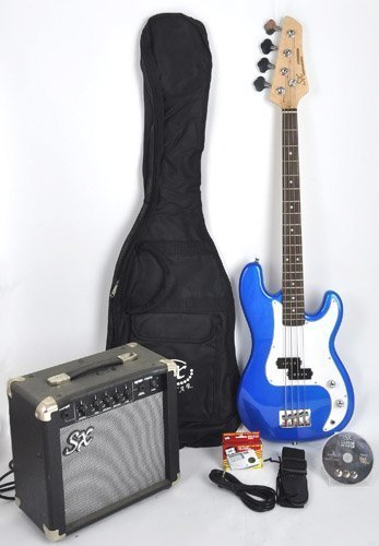 Ursa 1 JR RN PK EB Blue Bass Guitar Package w/Free Carry Bag, Amp Instructional On Line Video by SX (Image #6)
